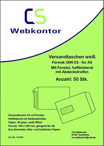 50 Stk. Versandtaschen DIN C5 (162×229 mm) weiß, mit Fenster, haftklebend mit Abdeckstreifen