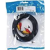 Valueline VLVP24300B100 Câble audio/vidéo 3x RCA mâles vers 3x RCA mâles 10 m Noir