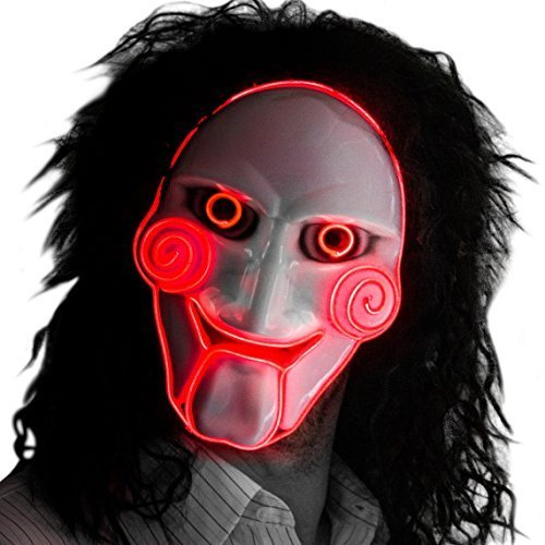 Neon Nightlife Herren Light Up Saw Film Gruselige Halloween Jigsaw Puppet Maske, Rot