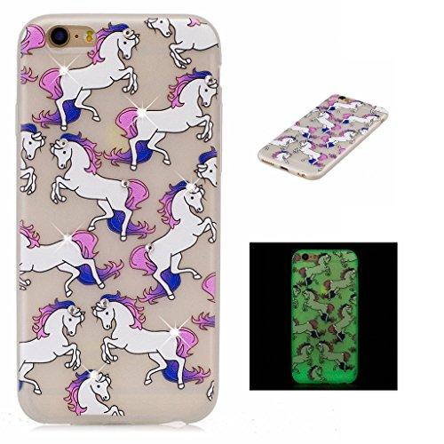 """Coque iPhone 6 / 6S , IJIA Ultra-mince Noctilucent Beau Motif de Fleurs Bleues TPU Doux Silicone Bumper Case Cover Coque Housse Etui pour Apple iPhone 6 / 6S 4.7"""" FD55"""
