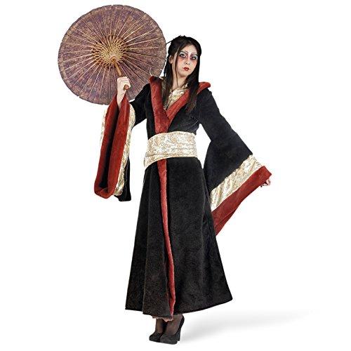 Geisha Kostüm Damen Kimono Asien Mantel schwarz rot - (Für Frauen Kostüm Geisha)