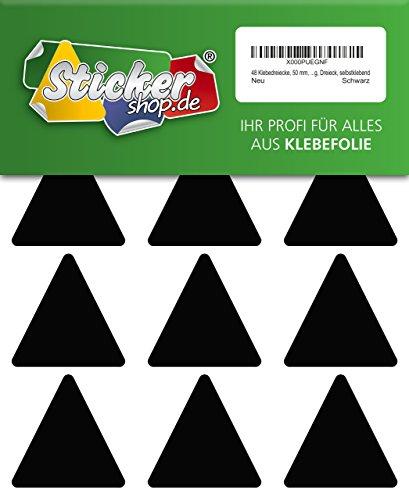 48 Aufkleber, Dreieck, Sticker, 50 mm, schwarz, PVC, Folie, Vinyl, glänzend, Klebemarkierung, selbstklebend