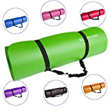 Premium Yogamatte - Gymnastikmatte, Fitnessmatte, trainingsmatte oder zuhause mit Schultertragegurt 183 cm x 60 cm x 1 cm