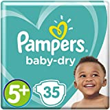 Pampers Baby-Dry 35 Nappies with 3 Absorbing Channels, 13 - 25 kg, Size 5+