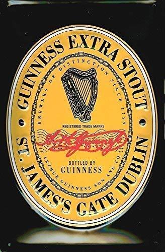 Guinness Etikett Irische Flasche Bier Getränke Bar Pub Rente 3d Metall/Wandschild aus Stahl 30 x 20 cm - Guinness-bier Etikett