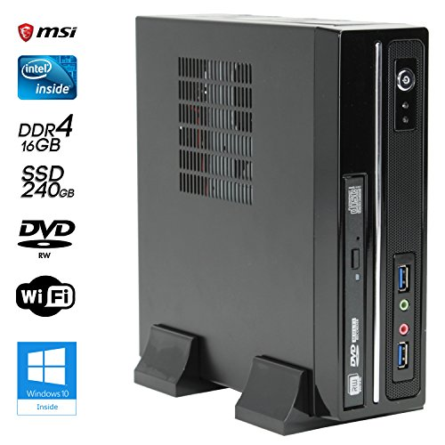 SNOGARD Mini-SSD-PC Office/Multimedia PC Computer inkl. Windows10 64-Bit & WLAN | Intel Core i5-7500T, HD 630 Grafik, 16GB DDR4 RAM, 240GB SSD + 1TB HDD, DVD±RW | High Performance Desktop-PC • Silent Office Business Multimedia Computer