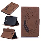 Ooboom® Samsung Galaxy Tab A 7.0 Case Emboss Feather Birds Pattern Flip Cover PU Leather Walllet Pouch with Card Slots Cash Packet for Samsung Galaxy Tab A 7.0 T280 - Coffee