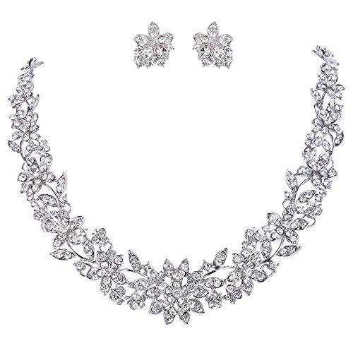EVER FAITH® österreichischen Kristal Blume Blatt Hochzeit Schmuck-Set klar Silber-Ton