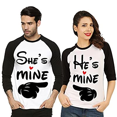Fanideaz Valentines Gift Raglan Cotton He is Mine She is Mine Printed Couple T Shirt