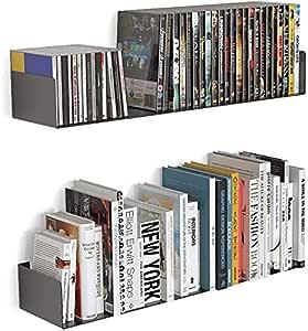 shiok decor® Wall Mount Metal U Shape Shelf Book CD DVD Storage Display Bookcase Black Set of 2