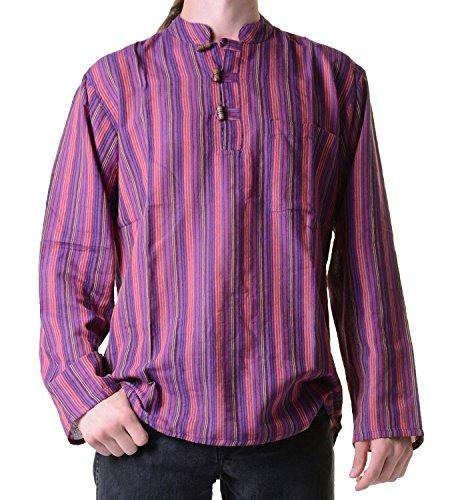 KUNST UND MAGIE Fischerhemd Kurtha Gestreift Überzieher Hemd Poncho Mittelalter Nepal, Größe:S, Farbe:Lila