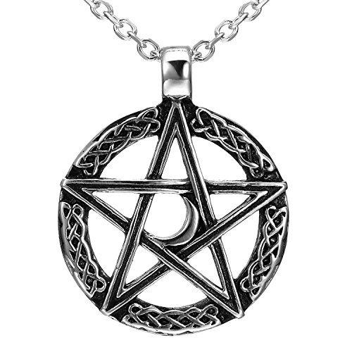 e Stil Pentagramm Pentagramm Crescent Moon Edelstahl Anhänger Halskette für Männer (53.4cm Kette) ()