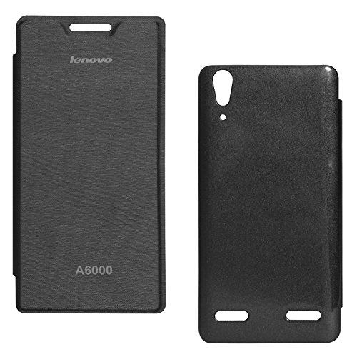 DMG Premium PU Leather Flip Cover Case for Lenovo A6000 (Black)