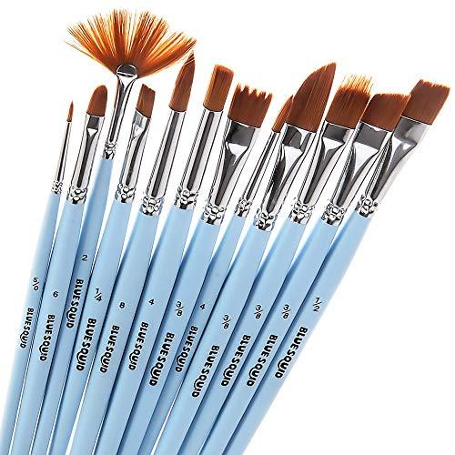 12 Künstlerpinselset, Premium Paint Brushes, Künstler Pinsel Set, Nylon Pinsel, Perfektes Pinsel Set für Aquarell, Acryl & Ölgemälde, kinderschminken, Anfänger, Kinder, Künstler und Gemälde Liebhaber -