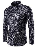 Mengmiao Herren Snake Cloth Features Nachtclub Casual Langarm Hemd Schwarz L