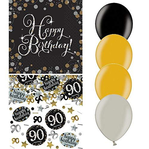 tagsdeko Zum 90. Geburtstag | 21 Teile Luftballon Servietten Konfetti Gold Schwarz Silber Party Deko Set Happy Birthday 90 ()