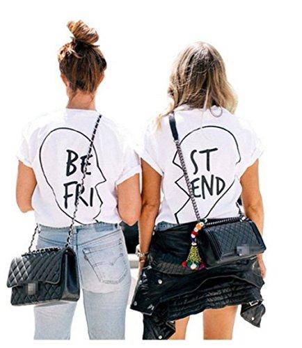 Qissy®Di estate modo Best Friends casuale camicia a maniche corte in pizzo T-shirt Ragazza modello manica corta con stampa floreale T (M, Bianco due pezzi)
