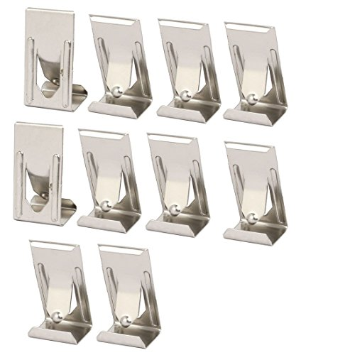 ZCHXD 26mmx14mm Picture Photo Frame Metal Spring Turn Clip Hanger Siver Tone 10pcs