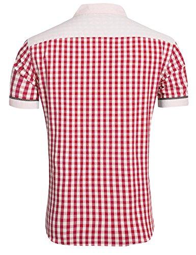 Lonlier Herren Hemd Kurzarm Kariert Sommer Beiläufig Trachtenhemden Freizeithemd Oktoberfest Stil Winerot
