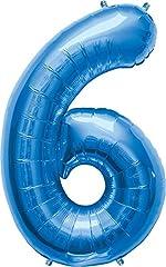 Idea Regalo - AMSCAN Palloncino a forma di numero 6, 58 x 88 cm, colore: Blu