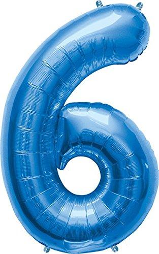 Amscan, Palloncino a forma di numero 6, 58 x 88 cm, colore: Blu