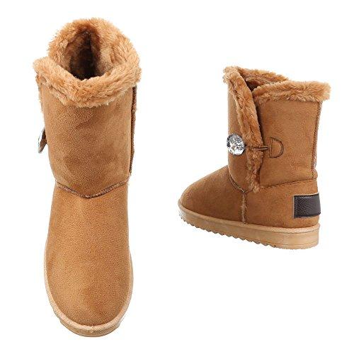 Ital-Design Komfort Stiefeletten Damen Schuhe Schlupfstiefel Warm Gefütterte Stiefeletten Camel