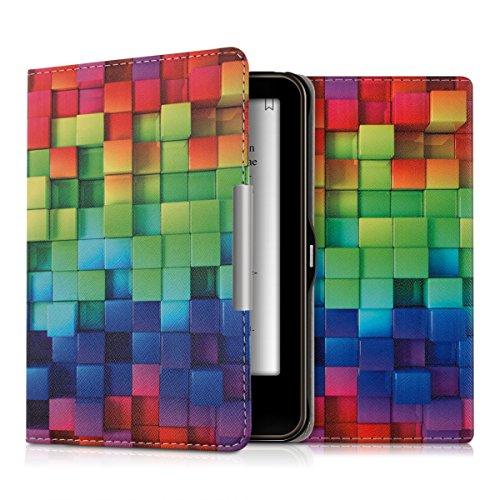 kwmobile Hülle für Tolino Vision 1 / 2 / 3 / 4 HD - Flipcover Case eReader Schutzhülle - Bookstyle Klapphülle Regenbogen Würfel Design Mehrfarbig Grün Blau