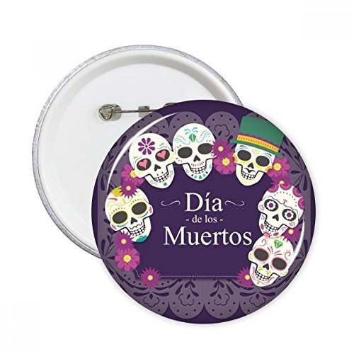 Totenkopf Hat Flower Mexiko Happy der Tag der Toten Illustration rund Pins Badge Button Kleidung Dekoration Geschenk 5 X ()