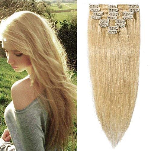 Clip in Extensions Echthaar Blond günstig Haarverlängerung 8 Tressen 18 Clips Remy Human Hair 40cm-65g(#613 Hell-Lichtblond)
