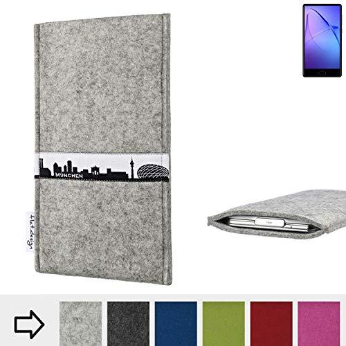 flat.design für Leagoo KIICA Mix Schutz Hülle Handytasche Skyline mit Webband München - Maßanfertigung der Schutztasche Handycase aus 100% Wollfilz (hellgrau) für Leagoo KIICA Mix