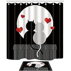 KOTOM Set de cortinas y esteras de ducha de animales, gatos de dibujos animados románticos con corazón pintado a mano cuadro de amor, cortinas de baño de tela de poliéster impermeable 69X70 pulgadas alfombra de franela de suelo de interior alfombras de baño 60x40cm