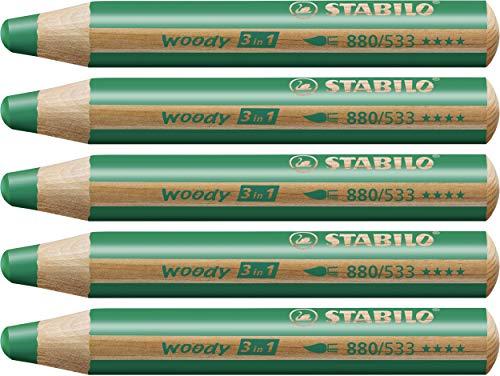 STABILO Woody 3 in 1 matitoni colorati colore Verde Scuro - Confezione da 5
