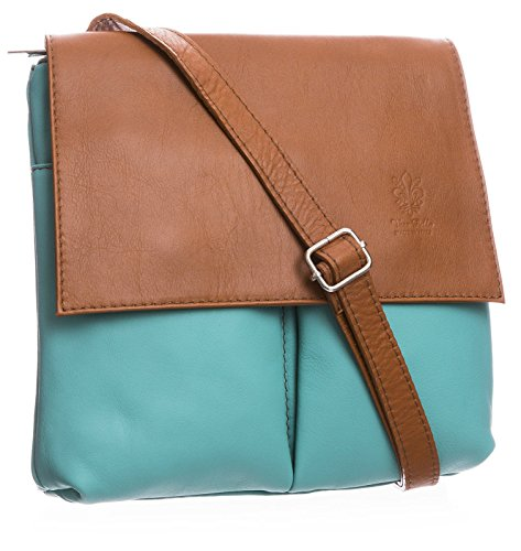 Big Handbag Shop, tracolla da donna, grande Turquoise - Tan Trim