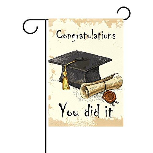 Duble Sided Hand Draw Graduation Cap und Diplom Feiern Sie haben es Sommer Graduierung Saison Polyester HAUS/Garten Flagge Banner 12x 18/71,1x 101,6cm für Hochzeit Party alle Wetter, Gesponnenes Polyester, multi, 28x40