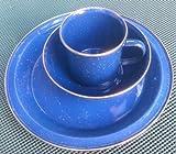 Blue Enamel 3 piece set Plate Bowl Cup Camping Caravan Outdoor Set