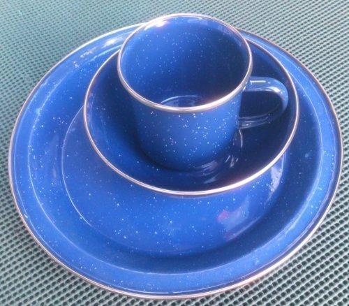 Outdoor-Geschirr-Set, blaues Emaille, 3-teiliges Set Teller Schale Tasse, für Camping, Wohnmobil
