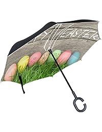 ALAZA Happy huevos de Pascua Conejo Decoración paraguas invertido doble capa resistente al viento Reverse paraguas
