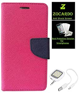 Zocardo Fancy Diary Wallet Flip Case Cover For Htc Desire 516 -Pink + Glass Screen Protector+ Flash For Mobile