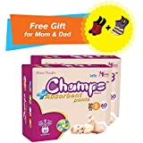 Super Champs High Absorbent Premium Pant Style Diaper (Pack Of 2) (Free Pair Of Secret And Loafer Socks) | Premium Pant Diapers | Premium Diapers | Premium Baby Diapers | Anti-rash And Anti-bacterial Diaper | (Small, 60)