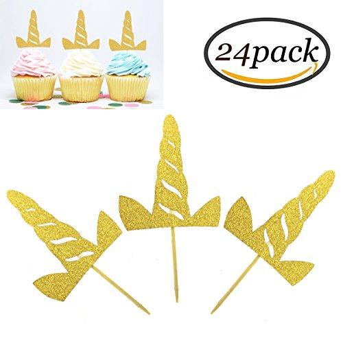 24Pcs Einhorn Cupcake Toppers Toppers Goldene Einhorn Horn Kuchen Dekorationen für Baby Dusche Geburtstagsfeier Vorteile (Die Flash Karte Kostüm)