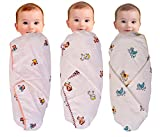 #8: MOM'S HOME Organic Cotton Swaddle With Baby Wrap 0- 2 Years - Pack Of 3 - 100X100 Cm