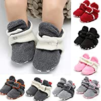 Amyline Boys Girls Non-Slip Soft Sole Infant First Pram Shoes Booties Gift Early Walkers,Cotton Shoes Cozy Fleece Booties