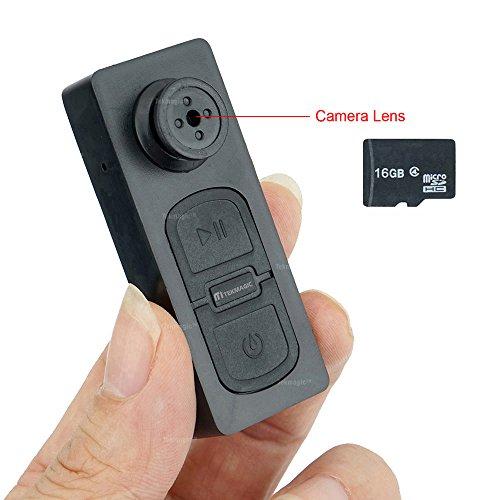 TEKMAGIC 16GB Mini Versteckte Spionage Knopfkamera Micro Spycam Diktiergerät
