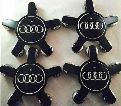 New 4PCS Black AUDI Wheel Center Hub Cap Emblem Fit for AUDI Q3 Q5 A3 A4 # 8R0601165/ #4F0601165NUS Stock by Gosweet (Blk-center)