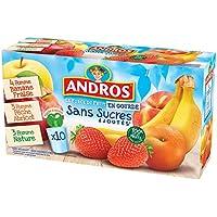 ANDROS Compotes de fruits en gourdes 3 variétés panachées Sans Sucres ajoutés 10x90g