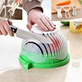 Double Fruit and Vegetable Peeler 60 secs Salad Maker, Vegetable and Fruits Washing and Cutter Bowl for Instant and Fastest Salad Preparation Chopper (Green)