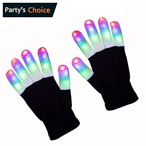 di 3 Farbe LED Finger leuchten Handschuhe Bunte blinkende Rave Glow Beleuchtung Fingerspitze Kinder Handschuh Spielzeug für Licht Show Disco Party Clubbing Geburtstag Hallowmas Pro (1 pack) (Weiß Rave Handschuhe)