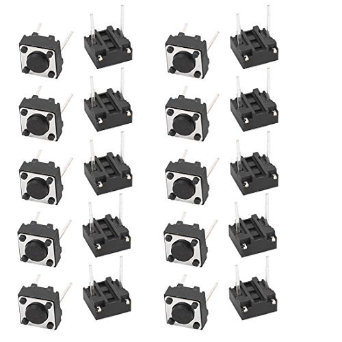 DealMux 20Pcs 6mmx6mmx4.3mm-Panel PCB Momentary Tactile Tact Push Button Switch 2 Pin DIP Switch Tactile Push