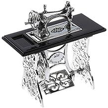 MagiDeal 1:12 Máquina de Coser Muñecas Muebles de Casa en Miniatura Negro y Plata
