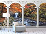 Gewohnheit Irgendeine Größe Römische Säule Kolonnade Wasserfall Stream Landschaft 3D Hintergrund Wandaufkleber Ausgangsdekor